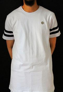 Metal Jersey T-Shirt mit schwarzen Streifen long Farbe Weiß