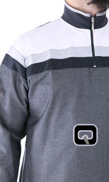 Qamis Oberteil - Gewand Long Farbe Grau mit Streifen
