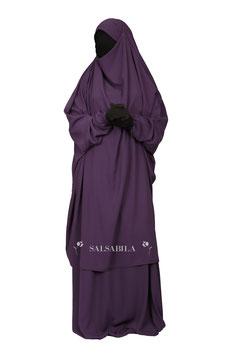 Jilbab zweiteilig Farbe Lila Kleid + Rock