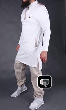 Qamis Court Boss Farbe Weiß- Beige Oberteil Langarm