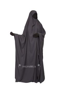 Jilbab Saudi Modell  Einteiler Farbe Dunkelgrau Kleid