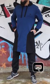 Qamis Court Versus Farbe Indigo Schwarz und Blau Oberteil
