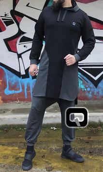 Qamis Court Versus Farbe Schwarz und Anthrazit Grau Oberteil