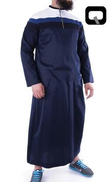 Qamis Oberteil - Gewand Long Farbe Blaue Nacht mit Streifen