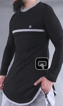 Langarm T-Shirt mit Streifen Farbe Schwarz mit grauen Streifen