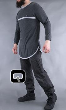 Langarm T-Shirt mit Streifen Farbe dunkelgrau mit Streifen