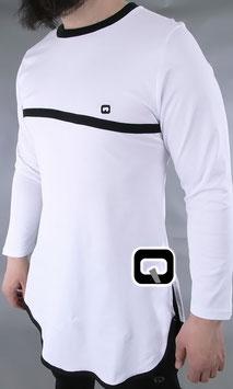 Langarm T-Shirt mit Streifen Farbe Weiß mit schwarzen Streifen