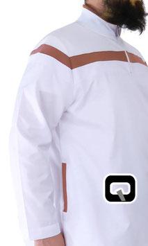 Qabail Qamis Oberteil - Gewand Kurz Pakistanisch Farbe Weiß mit braunen Streifen