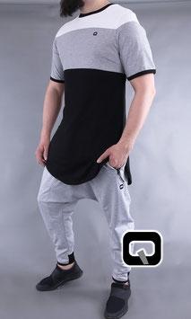 Langarm T-Shirt mit Blockstreifen Farbe Schwarz