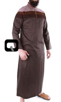 Qamis Óberteil - Gewand Long Farbe Braun mit Streifen