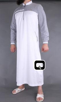 Qabail long classique Qamis Farbe Weiß- Hellgrau