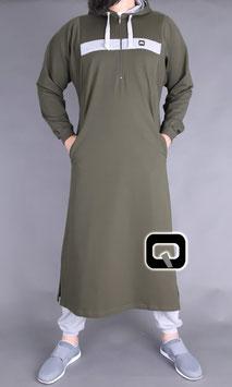 Qamis Oberteil - Gewand Long capuche Vortex Farbe Army Grün