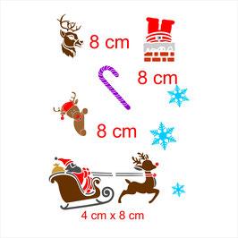 Ensemble 6 sujets  Noel avec renne