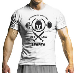 GymTONIX® Herren Motivation T-Shirt mit SPARTA'S LAW Print
