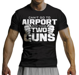 GymTONIX® Herren Motivation T-Shirt mit großem Two Guns Print