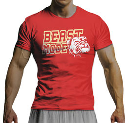 GymTONIX® Herren Motivation T-Shirt mit Beast Mode Print