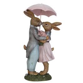 Figurine lapins avec parapluie