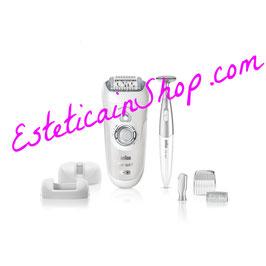 Braun Silk-épil 7 SensoSmart 7/890 Epilatore Argento senza fili con sistema di epilazione Wet&Dry e 7 accessori