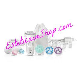 Braun Silk-épil 9 SkinSpa SensoSmart™ 9/969V Wet&Dry Set di Bellezza con Spazzola Esfoliante per il Corpo, accessorio per il Massaggio Profondo e Spazzola per il Viso. 12 accessori.
