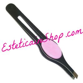 Hair Tech Pinzetta Pinza Ciglia Soft Touch Rosa Obliqua ST500R