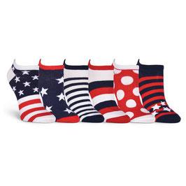 Americana No Show 6 Pair Pack Socks