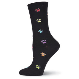 Coloful Paw Prints Crew Socks