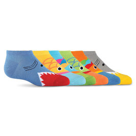 Kid's Wide Mouth Ankle Socks Six Pair Pack