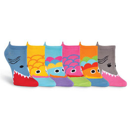 Wide Mouth 6 Pair Pack No Show Socks