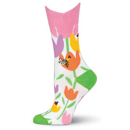Wide Mouth Tulips Crew Socks