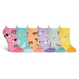 Women's Farm Animals 6 Pair Pack Socks