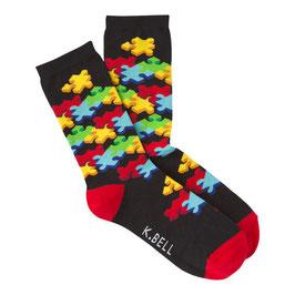 Women's 3D Jigsaw Crew Socks