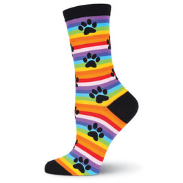 Rainbow Stripe Paw Prints Crew Socks