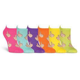 Women's Middle Finger 6 Pair Pack Socks