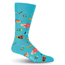 Men's Exotic Fish Crew Socks Blue
