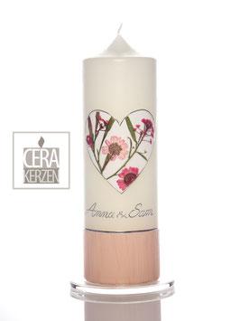 """Hochzeitskerze """"Herzensblume Rosa"""""""