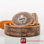 FEUERWEHRGÜRTEL F8 mit hochwertiger versilberter Schnalle und Schriftzug  >Gott zur Ehr` dem Nächsten zur Wehr<
