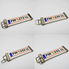 Schlüsselanhänger mit deinem Wunschtext / Kennzeichen / Logo auf echtem Feuerwehrschlauch