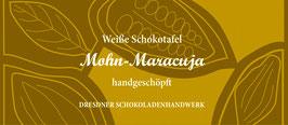 """Weiße Schokoladentafel 33% """"Mohn und Maracuja """""""