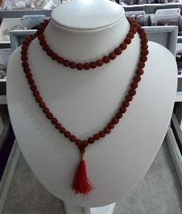Mala Rudraksha 108 grains + floche rouge