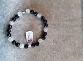 Bracelet spinelle noire & cristal de roche