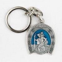 Porte clés fer à cheval saint Christophe.