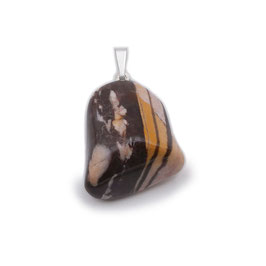 Pendentif pierre roulée jaspe brun