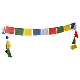 Cordon avec 10 drapeaux de prière tibétains 9 x 9 cm