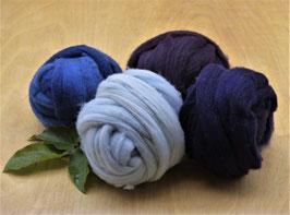 Wolle Kammzug - Farbbereich BLAU