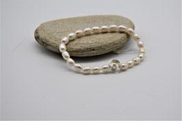 Perlen mit Silber, Armband