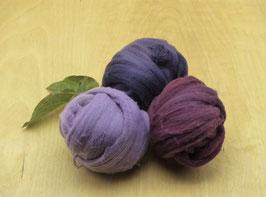 Wolle Kammzug - Farbbereich LILA