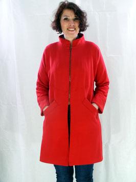 Manteau crêpe polyester rouge avec doublure fantaisie