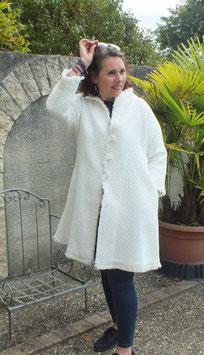 Manteau laine et bambou blanc