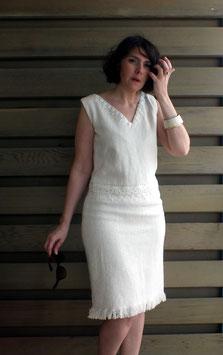 Robe en coton ivoire et dentelle