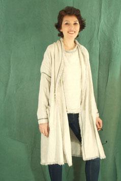 Manteau lin gris et fils argent